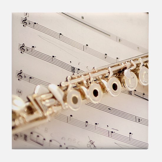 Flute and Music Tile Coaster