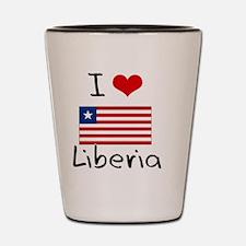 I HEART LIBERIA FLAG Shot Glass
