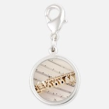Flute and Music Silver Round Charm