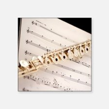"""Flute and Music Square Sticker 3"""" x 3"""""""