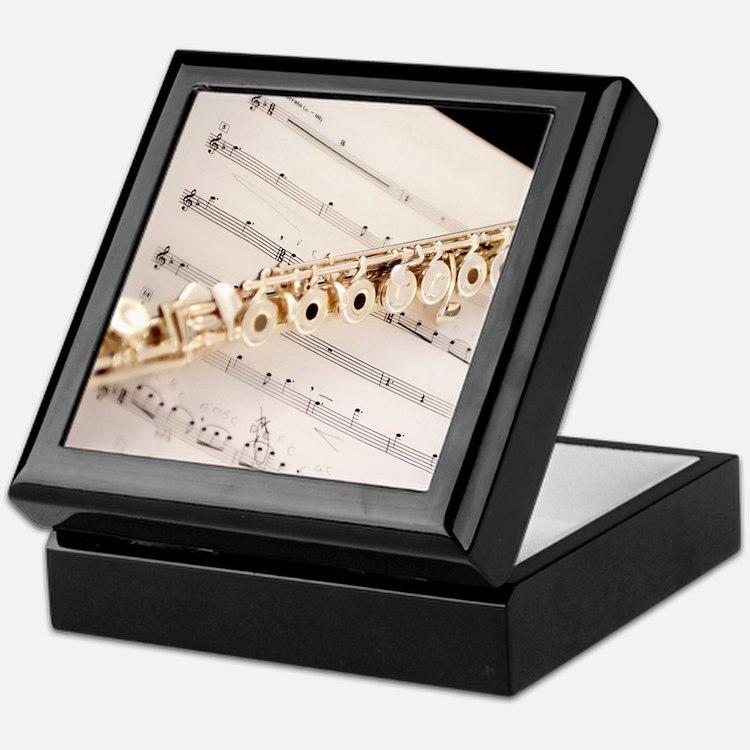 Flute and Music Keepsake Box