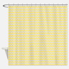 Chevron Zigzag Pattern Grey and Yel Shower Curtain