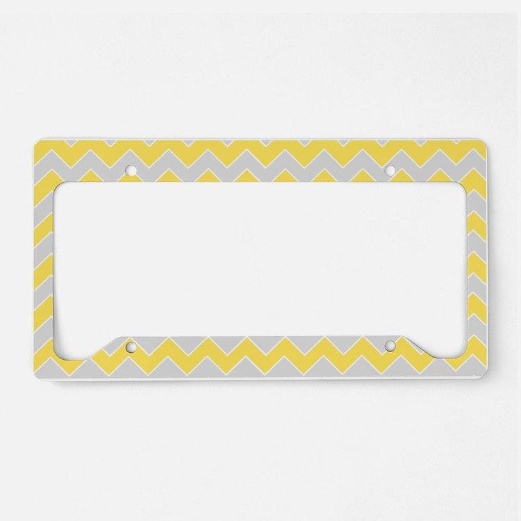 Chevron Zigzag Pattern Grey a License Plate Holder