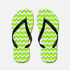 Chevron Zigzag Pattern Lime Green and W Flip Flops