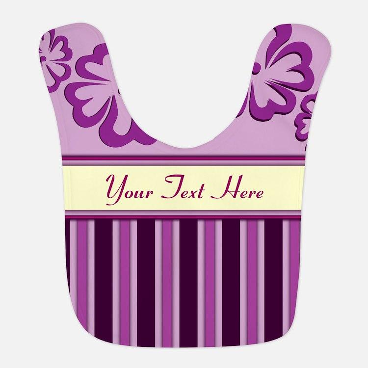 Purple And Pink Stripe Hibiscus Personalized Bib