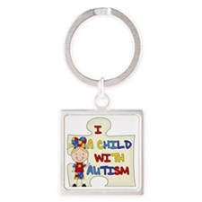 Blond Girl Child With Autism Square Keychain
