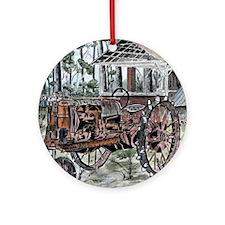 farm tractor vintage folk art Round Ornament