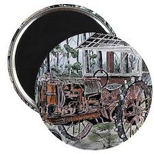 farm tractor vintage folk art Magnet