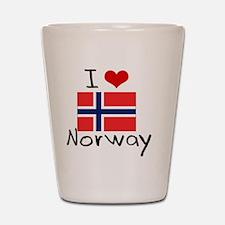 I HEART NORWAY FLAG Shot Glass