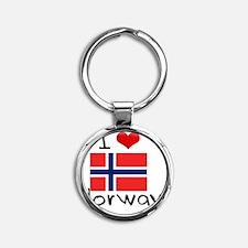 I HEART NORWAY FLAG Round Keychain