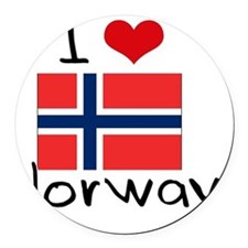 I HEART NORWAY FLAG Round Car Magnet