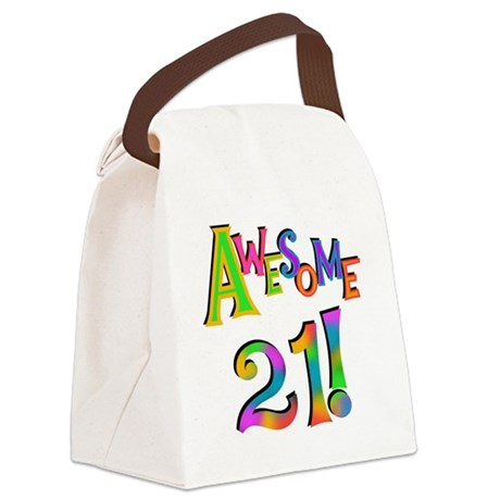 Awesome 21 Birthday Canvas Lunch Bag