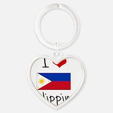 I HEART PHILIPPINES FLAG Heart Keychain