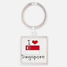 I HEART SINGAPORE FLAG Square Keychain