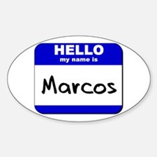 hello my name is marcos Oval Decal
