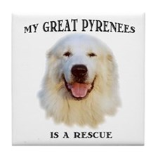 Great Pyrenees Rescue Tile Coaster