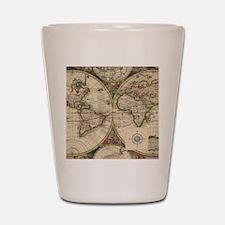 Antique Old World Map Shot Glass