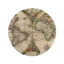 "Antique Old World Map 3.5"" Button"