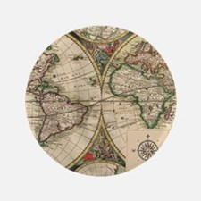 """Antique Old World Map 3.5"""" Button"""