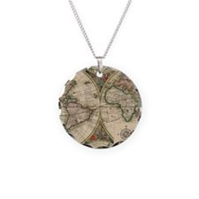 Antique Old World Map Necklace
