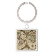 Antique Old World Map Square Keychain