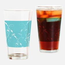 Aqua Blue Filigree Floral Beauty Drinking Glass