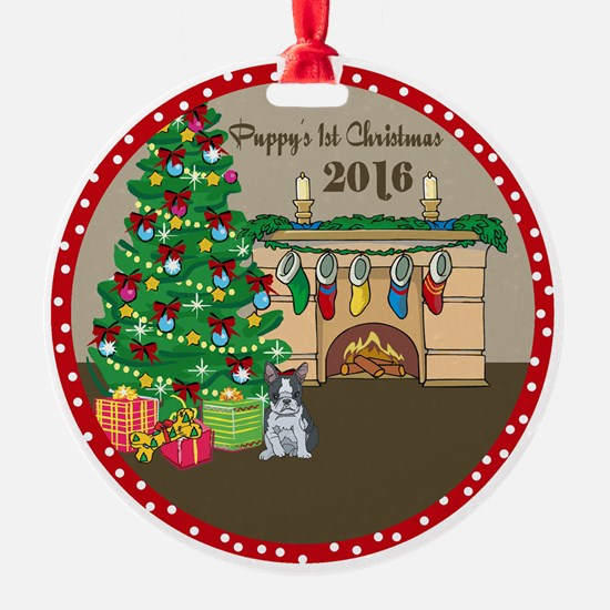 2016 Boston Terriers 1St Christmas Ornament