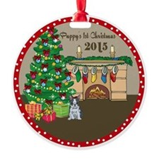2015 Boston Terriers 1St Christmas Round Ornament