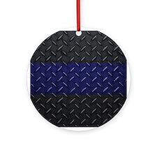 Police Diamond Plate Ornament (Round)