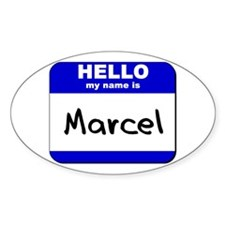 hello my name is marcel Oval Decal