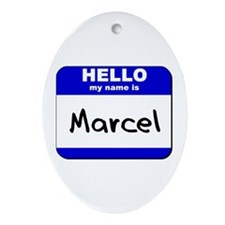 hello my name is marcel  Oval Ornament