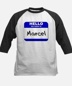 hello my name is marcel Kids Baseball Jersey