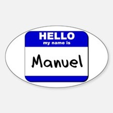 hello my name is manuel Oval Decal