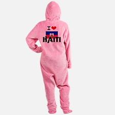 I HEART HAITI FLAG Footed Pajamas