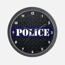Police Diamond Plate Wall Clock