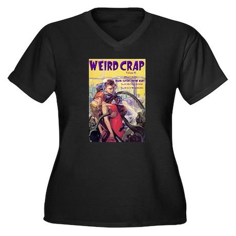 Weird Crap Women's Plus Size V-Neck Black T-Shirt