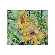 tropical exotic hibiscus flowers Throw Blanket