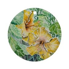 tropical exotic hibiscus flowers Round Ornament