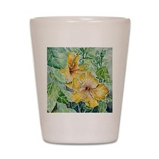 tropical exotic hibiscus flowers Shot Glass