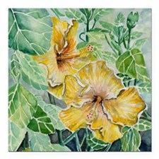 "tropical exotic hibiscus Square Car Magnet 3"" x 3"""