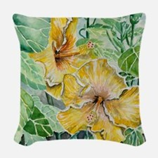 tropical exotic hibiscus flowe Woven Throw Pillow