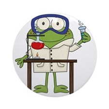Frog in Science Lab Round Ornament