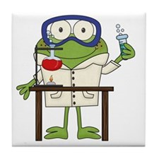 Frog in Science Lab Tile Coaster