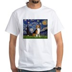 Starry Night & Beagle White T-Shirt