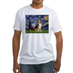 Starry Night & Beagle Fitted T-Shirt