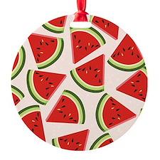 Watermelon Pattern Flip Flops Round Ornament