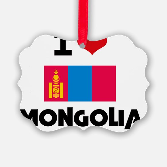 I HEART MONGOLIA FLAG Ornament