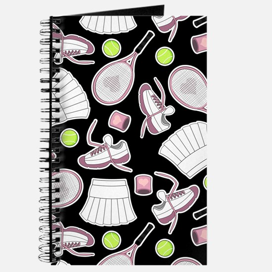 Tennis Love Pattern Black Journal