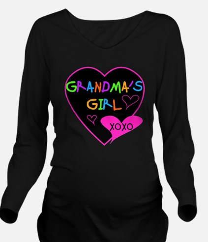 Heart Grandma's Girl Long Sleeve Maternity T-Shirt