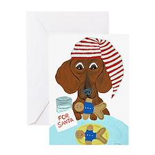 Dachshund Guarding Santa's Cookies Greeting Cards